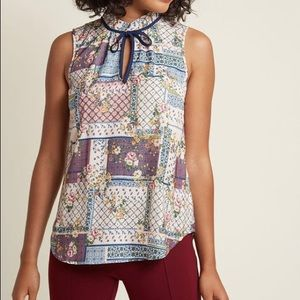 Sleeveless Woven Tie-Neck Top in Patchwork